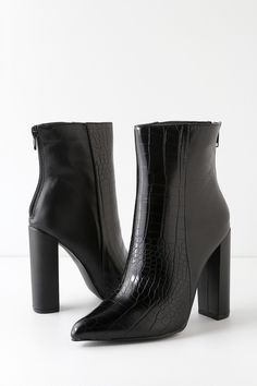 The Lulus Karin Black Crocodile Embossed Two-Tone High Heel Booties are the real deal when it comes to fierce footwear! Two-tone booties with pointed toes. Black Booties, Leather Booties, Women's Booties, Crocodile Boots, Black Pointed Heels, Womens High Heels, Me Too Shoes, Casual, Black Women