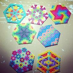 Random perler beads hexagon patterns by Tiara Cunningham