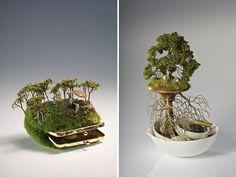 Paysages miniatures de Kendal Murray sur toutes sortes d'objets.