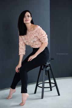 Ksenia Belova Photography Bar stool sitting pose Fashion photography Roses Dark background Inspiration
