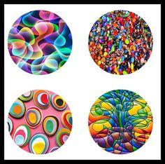 Best 12 Bright Random Designs 1 Circle Designs by DesignsByShellyAnn Carta Collage, Collage Sheet, Ty Dye, Pop Art Images, Bottle Cap Crafts, Summer Crafts For Kids, Diy Resin Crafts, Bottle Cap Images, Rainbow Print