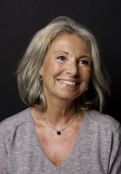 Kirsten Vaupel. Pretty gray hair. Grow older with a smile and a twinkle in your eyes. Timeless beauty.