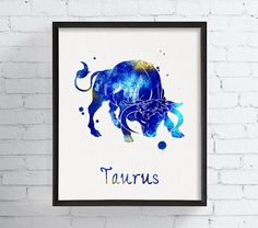 Watercolor Taurus Taurus Art Taurus Print Taurus by MiaoMiaoDesign
