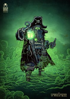 ArtStation - the cursed lantern of Duncan Black, Sebastian Skrobol Pirate Art, Pirate Life, Pirate Ships, Pirate Illustration, Lantern Tattoo, Pirate Tattoo, Sea Of Thieves, Pirates Cove, Skeleton Art