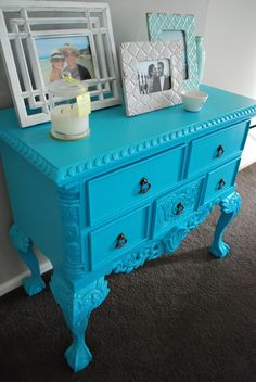 .must have wear: .repainting old furniture .part two: turquoise dresser
