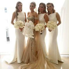 Elegant Mermaid Satin Ivory Long Bridesmaid Dresses 2015 Summer Beach Maid of Honor Dresses Bateau Neckline Wedding Party Dresses DM003 from Lianshangyixiu,$122.12 | DHgate.com
