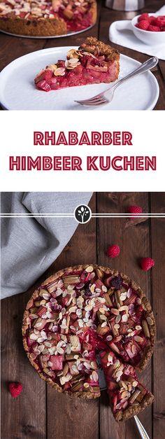 #Rhabarber-Himbeer Kuchen #vegan! Saftig und einfach zubereitet. Das ganze Rezept auf eat-vegan.de