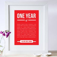 personalised 1st year anniversary print by elephant grey | notonthehighstreet.com