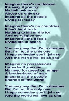 John Lennon's Song - yes you where a dreamer but people are full of hate and ambition