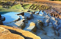 Another view of the travertine terraces of Badab-e Surt in Iran.