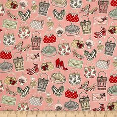 Temptations Handbags Pink from @fabricdotcom  Designed by The Henley Studio for Makower, this cotton print is perfect for quilting, apparel and home decor accents.  Colors include pink, red, mint, gold, white, blue and tan.