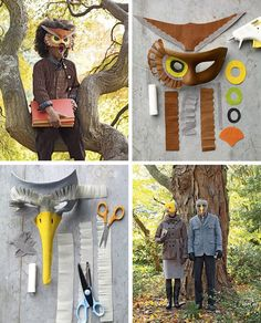 Costume chouette et oiseau- Masques en papier crépon- Carnaval