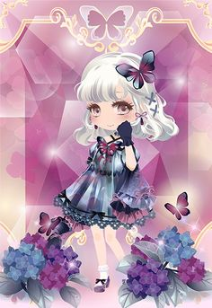Hydrangea of the rainy season Kawaii Chibi, Anime Chibi, Chibi Characters, Fantasy Characters, Girls With Flowers, Cocoppa Play, Kawaii Wallpaper, Fantasy Character Design, Pretty Wallpapers