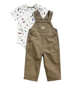 Look at this #zulilyfind! Carhartt White Horse Bodysuit & Canyon Brown Overalls - Infant by Carhartt #zulilyfinds