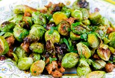 Italian Food Forever » Golden Roasted Brussel Sprouts With Sausage & Garlic. I'd use chicken sausage!