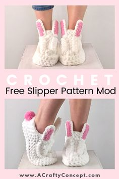Easy free crochet pattern to crochet a cute pair of bunny slippers! These crochet bunny slippers are so cozy and the free crochet pattern is easy to follow. #crochetslippers #crochetbunnyslippers