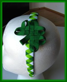 St Patricks Day Woven Headband and Shamrock Clip by KatiebugBows, $12.00