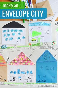 an Envelope City Make an envelope city!Make an envelope city! Lessons For Kids, Projects For Kids, Art Lessons, Crafts For Kids, Mission Projects, Toddler Crafts, Toddler Activities, Community Activities, How To Make An Envelope