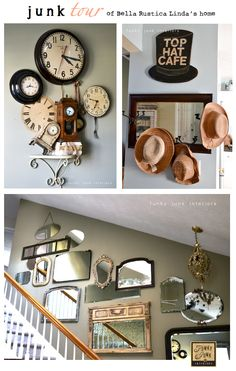 An amazing JUNK TOUR of Bella Rustica Linda's home - a must see! via Funky Junk Interiors. Funky Junk Interiors, one of the best! Funky Junk Interiors, Diy Inspiration, Decoration Design, Ikea Hacks, My Dream Home, Repurposed, Sweet Home, Gallery Wall, New Homes
