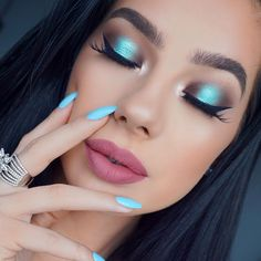op of blue #makeup #blue -#bluemakeup #sigmabeauty #motd #glam #bluenails Details in last post ���