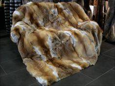 567 Red Fox Fur Blanket- natural fur - real fur blanket - genuine fox fur throw