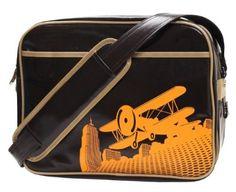 Cevan Metro Vintage Biplane Premium Diaper Bag Coated Canvas, Brown Gloss | Little Green Duckling