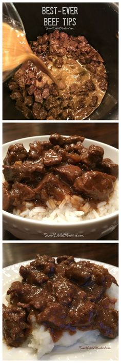 Adapt for IP: BEST-EVER BEEF TIPS- Tender beef cooked in a deliciously rich gravy, served over rice, mashed potatoes or egg noodles - a satisfying, filling meal the whole family will love. Simple to make comfort food that's easy to adapt to your taste! I Love Food, Good Food, Yummy Food, Yummy Treats, Beef Dishes, Food Dishes, Main Dishes, Meat Recipes, Cooker Recipes