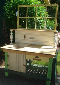 POTTING BENCH w/ porcelain enamel antique by CelestialReCreations, $850.00