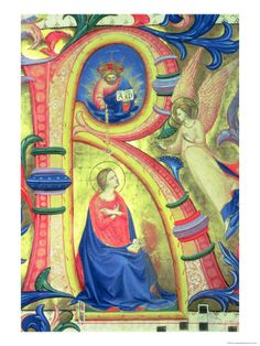 The Annunciation Depicted in an Historiated Initial 'R'