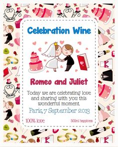 Celebrate the wedding with an unique bottle label