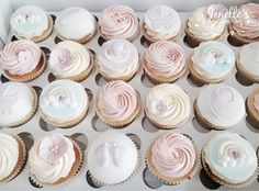Baby shower cupcakes. By Jenelle's Custom Cakes.