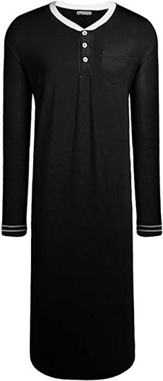 Langle Men s Nightshirt Long Sleeve Sleep Shirt Nightwear Knit Cotton  Pajama (Black 05cc74f31