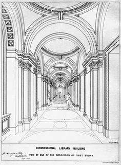 Archimap: view of the corridor inside the Library of Congress, Washington DC Source by ankemet Architecture Antique, Historical Architecture, Architecture Details, Architecture Art, Architecture Drawing Sketchbooks, Architecture Concept Drawings, Watercolor Architecture, Building Drawing, Building Sketch