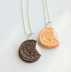 Oreo Inspired Sandwich Cookies Best Friends Necklaces - Food Jewelry - Best…