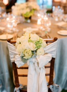 White Silk Reception Chair Tie With Ivory and White Flowers