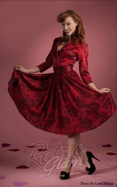 Retro Glam - PinUp Couture Red Rose Meredith Satin Birdie Dress