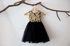 Gold Lace Sequin Black Tulle V Back Flower Girl Dress Wedding Bridesmaid Dress M0039 by MillyWeddingshop on Etsy https://www.etsy.com/listing/478637675/gold-lace-sequin-black-tulle-v-back