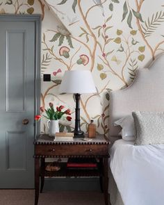 @lewisandwood on instagram - lovely Swedish wallpaper - in this pretty bedroom #gustavian