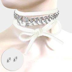 """70"""" white crystal faux suede wrap necklace .25"""" earrings choker collar"""