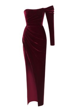 Shop Silk-Blend Off-The-Shoulder Draped Corset Gown. Rasario's off-the-shoulder gown is designed with a long sleeve, fitted bodice and a column silhouette with a thigh high slit. Velvet Evening Gown, Velvet Gown, Red Velvet Dress, Evening Gowns, Red Silk Dress, Silk Gown, Pretty Dresses, Beautiful Dresses, Gown With Slit