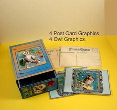 Owl Match Box Printable number 18 Instant Download