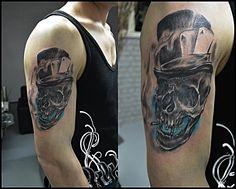 Yesterday's Tat ! (: #funky #skull #turquoise #tattoo #cheyennetattooequipment