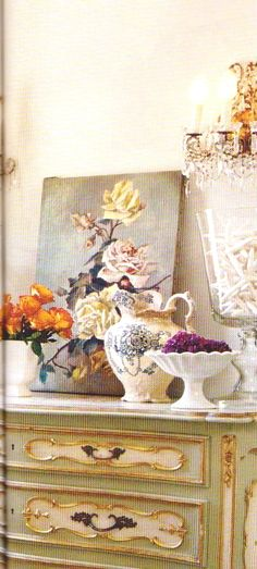Easy vignette- Vintage art, milk glass pedestal or cake stand, colorful vases, fresh flowers, and a little crystal- instant French Cottage class!