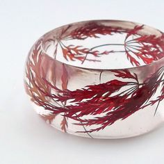 Red Resin Bangle.  Sophisticated Statement Bangle.  Chunky Bracelet with Pressed Flowers. Red Lace Leaf Japanese Maple Leaves via Etsy