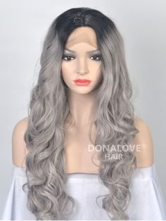 Black to Grey Ombre Wavy Synthetic Lace Front Wig-SNY036 - SYNTHETIC WIGS…