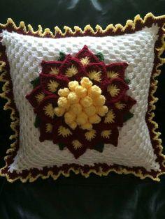 Crochet Patterns Pillow ♡ Pillow Case Crochet Pillow Vintage Crochet Pillow by cnicolae Crochet Headband Pattern, Crochet Flower Patterns, Crochet Doilies, Crochet Flowers, Knitting Patterns, Crochet Pillow Cases, Knit Pillow, Crochet Cushions, Cushion Pillow