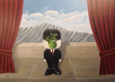 Red curtains and strange mountains and that ever present stone block wall. Who do we see centre stage? Of course it's our friend Fred with the green apple obscuring his smiling face. Acrylic on canvas this painting is entitle 'The Long Applause'.