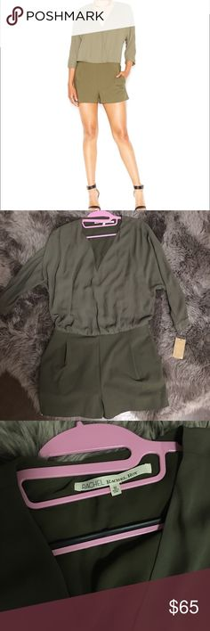 NWT💗 Rachel Roy green shorts jumpsuit Shorts jumpsuit by Rachel Roy. Love the long sleeves and the pockets on this garment. The front closure is a small snap so the shorts are fitted and the top is more flowy. Size L. Rachel Roy Dresses Long Sleeve