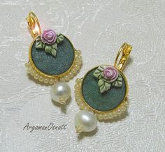 Romantic round turquoise earrings with pearl and rose. Vintage style earrings