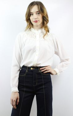 57a27c939aa Vintage 70s Longsleeve White Sheer Lace Blouse